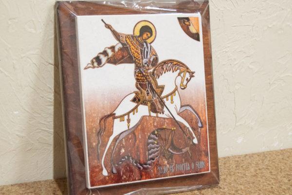 Сувенир Икона Святого Георгия Победоносца № 01 на мраморе, каталог икон, фото 1