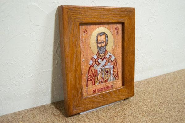 Икона Николая Угодника № 5-30 из мрамора, именная, изображение, фото 3