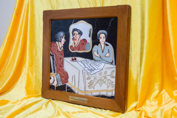 Каменная Картина Автопортрет в зеркале № 04 (Сутин), изображение, фото 2