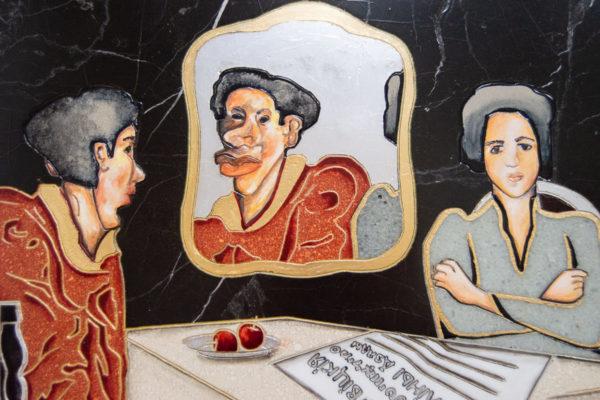 Каменная Картина Автопортрет в зеркале № 04 (Сутин), изображение, фото 9