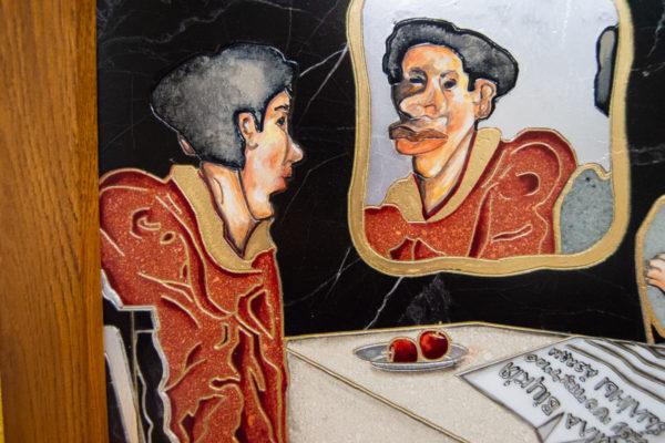 Каменная Картина Автопортрет в зеркале № 04 (Сутин), изображение, фото 12