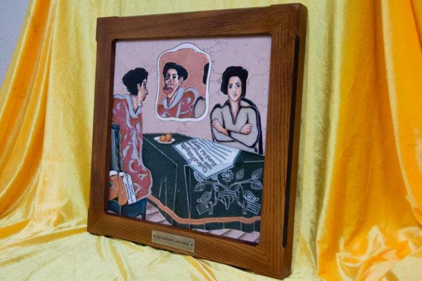 Каменная Картина Автопортрет в зеркале № 05 (Сутин), изображение, фото 2