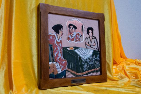 Каменная Картина Автопортрет в зеркале № 05 (Сутин), изображение, фото 3