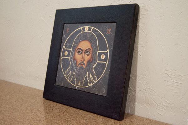Икона Иисуса Христа - Спас Нерукотворный № 5-5 из мрамора, изображение, фото 2