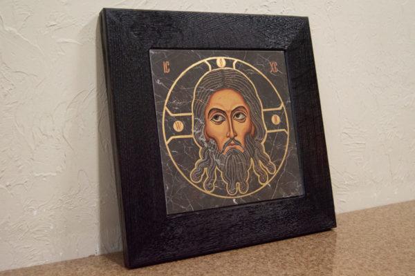 Икона Иисуса Христа - Спас Нерукотворный № 5-5 из мрамора, изображение, фото 3
