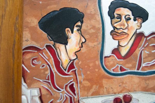Каменная Картина Автопортрет в зеркале № 06 (Сутин), изображение, фото 12