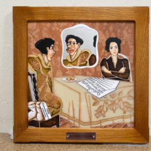 Каменная Картина Автопортрет в зеркале № 07 (Сутин), изображение, фото 3