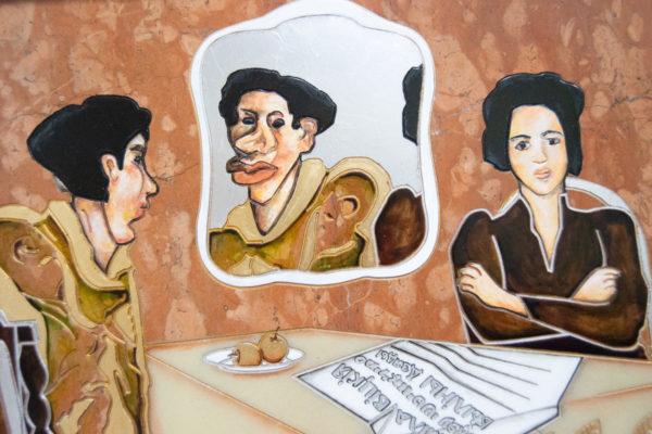 Каменная Картина Автопортрет в зеркале № 07 (Сутин), изображение, фото 5