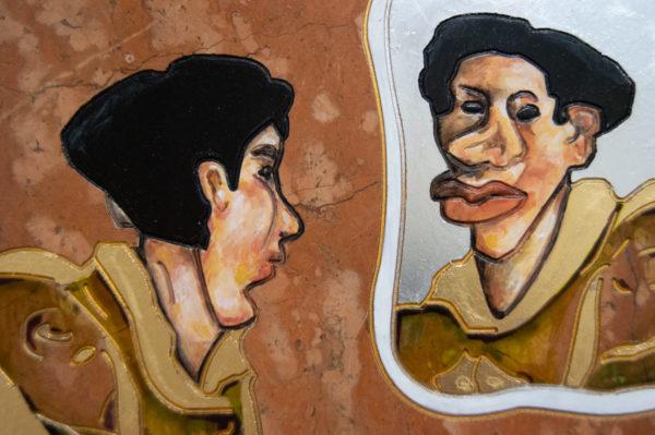 Каменная Картина Автопортрет в зеркале № 07 (Сутин), изображение, фото 11