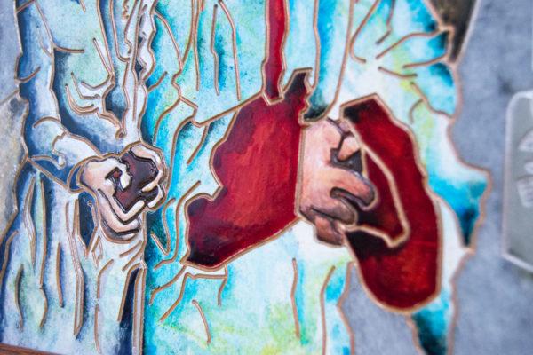 Каменная Картина Певчие у Могилы № 01 (Сутин), изображение, фото 13