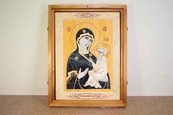 Икона Тихвинской Божией Матери № 1-12,8 из мрамора, камня, изображение, фото 1