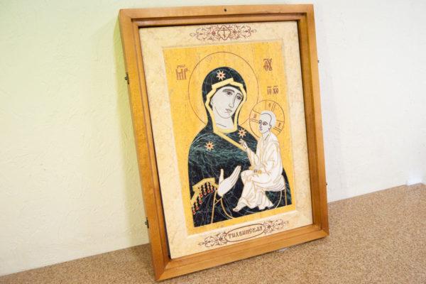 Икона Тихвинской Божией Матери № 1-12,8 из мрамора, камня, изображение, фото 2