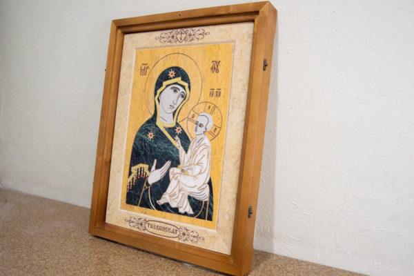 Икона Тихвинской Божией Матери № 1-12,8 из мрамора, камня, изображение, фото 3