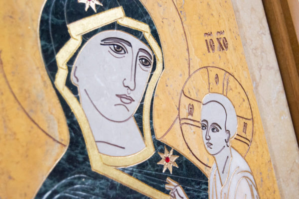 Икона Тихвинской Божией Матери № 1-12,8 из мрамора, камня, изображение, фото 4